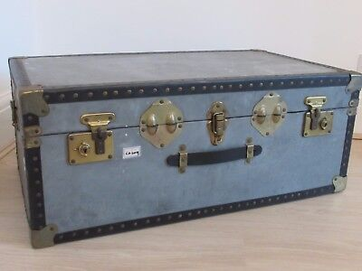 Steam Ship Trunk Antique Vintage Case Lovely Condition Patina Luggage Blue Grey