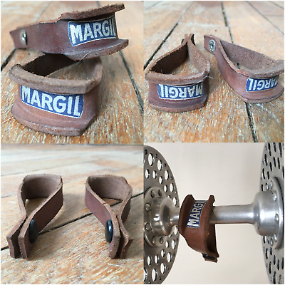 NOS x2 Essui Moyeu MARGIL Cuir Leather Clean Hub Strap Vélo Old Prior Maxi car