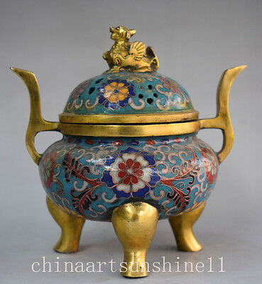 Chinese Rare Old Cloisonne Handmade Carved Unicorn Lid Incense Burner