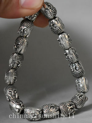 Exquisite Chinese Tibetan Silver Bracelet Handmade Carved Buddha Head Statue Dec