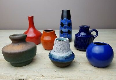 7 small FAT LAVA West German vases by various producers despatch after 25/12