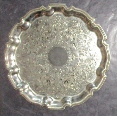 """Vintage Dainty Cavalier Silver Plated Scalloped Drinks Serving Tray -10.5"""""""