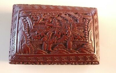 Hand Carved Asian Vintage Chinese Scenery Lacquer Small Red Box