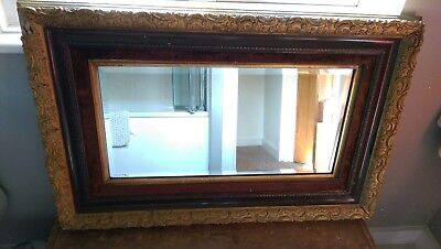 Antique Georgian/Victorian wall mirror with brown velvet surround & gilted frame