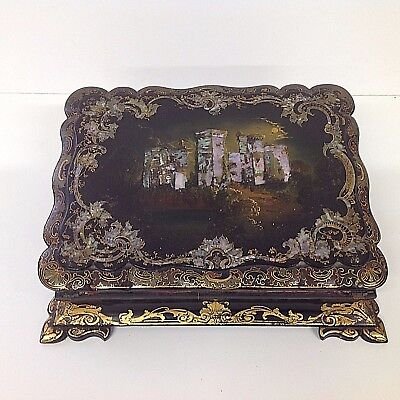 Victorian Black Lacquered Writing Slope gilded and Mother of Pearl decoration