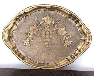 1900s Antique Beautiful Handmade and Carved Brass Trey # 444