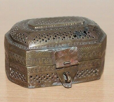 1900's Old Antique Jaali Cut Design Hand Crafted Brass Betel Box / Paan Daan#419