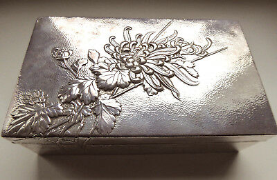 Japan  big box solid Silver with floral relief 15x9x4,5 cm