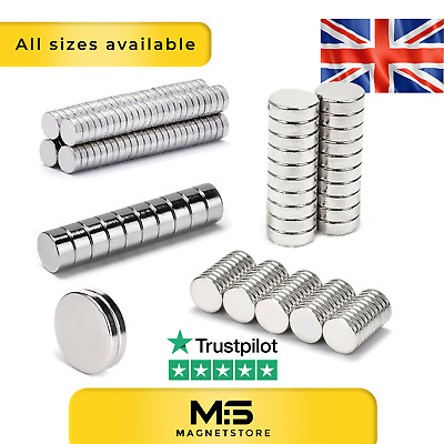 Strong Neodymium Craft DIY Magnets Big & Small Disc From 2mm to 20mm