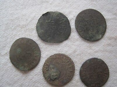 5 X 17th CENTURY TOKENS (UK metal detecting find)