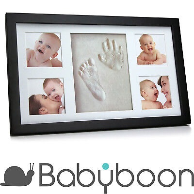 Babyboon Hand and Footprint Photo Frame Kit - NEW DESIGN 2018 (Black)