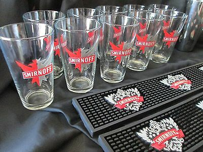Smirnoff Bar Set 10 glasses 2 bar mats 1 cocktail shaker Bloody Marys Nice Clean