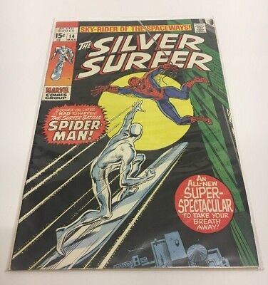 SILVER SURFER 14 - SPIDERMAN Appearance (BRONZE AGE 1970) - VGC Marvel Comic