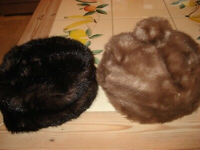 TWO 1950s/60s ORIGINAL VINTAGE FUR HATS Made by Jacoll - Both with Fur Pom Pom