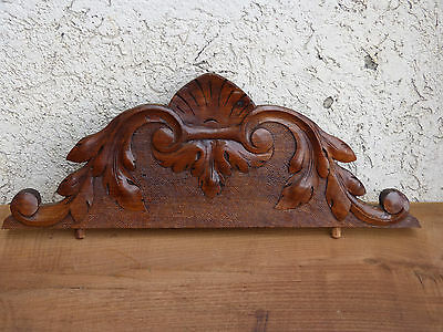 """Antique FRENCH WOOD carved PEDIMENT finial plaque panel WALNUT Crest Top 17"""""""