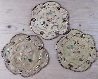 Three Antique Finely Embroidered Silk Chinese Mats, Floral Motifs,  9Cm