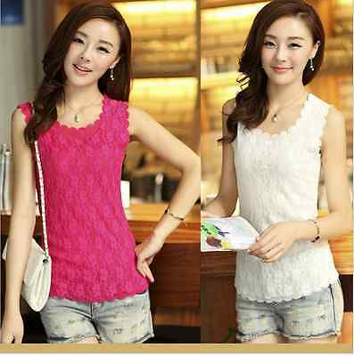 New Womens Floral Lace Wave Vest Sexy Tank Top Ladies Stunning T-shirt Blouse