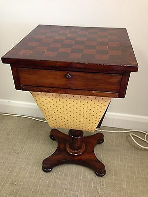 Victorian chess / games table / sewing  workbox