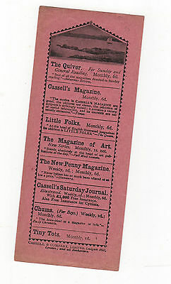 Cassell,s Paper Bookmark Advertising Current Publications. Circa 1900