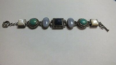 Sterling Silver Turquoise, Mother Of Pearl & Other Semi-Precious Stone Bracelet