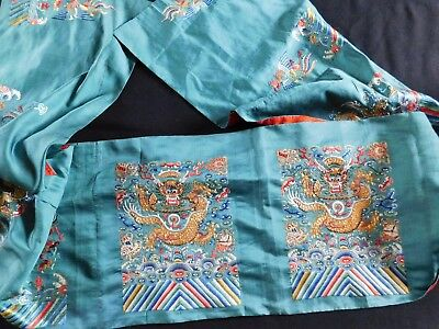 Antique Finely Embroidered Silk Chinese Dragon / Phoenix Panels, For Robe?