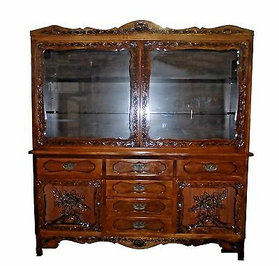Vintage Mission Arts  Style Ornately Carved Wood HUTCH China Cabinet