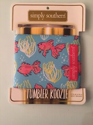 Simply southern Tumbler Koozie Preppy Nautical Fish/coral Design NWT