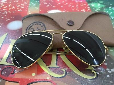 VINTAGE Ray Ban, USA aviator  sunglasses gold BL lenses w case