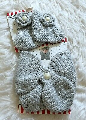 NEW So'Dorable Baby Girl 0-12M Crochet Sweater Knit Scarf and Booties 2 PC Set