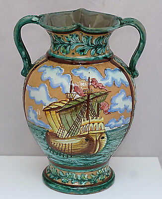 Large DERUTA ARTS & CRAFTS Faience Outstanding Della Robbia type Maiolica VASE