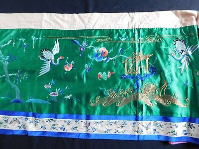 Antique Finely Embroidered Chinese Silk Hanging, Embroidery Edging