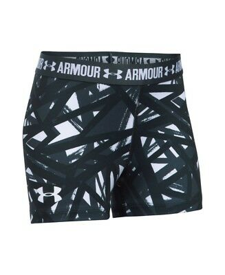 (Youth Small, White) - Under Armour Girls' HeatGear Armour Printed 7.6cm Shorty