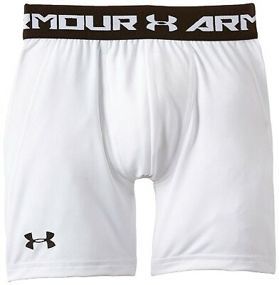 (Youth X-Small, White/Black) - Under Armour Boys' HeatGear Armour Fitted