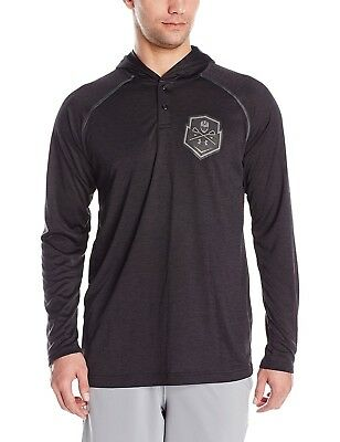 (X-Large, Black/Black) - Under Armour Men's Lax Henley Hoodie. Unbranded