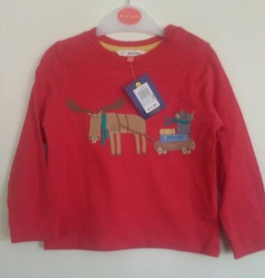 John Lewis Lovely Christmas Mouse & Moose Cotton Red Top Age 18/24 Months BNWT