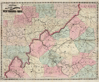 1865 Map of the Oil District of West Virginia showing historic oil & gas places