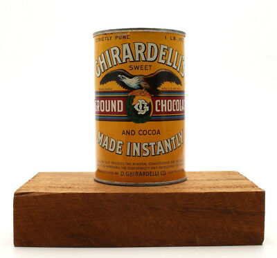 Vintage Ghirardelli's Sweet Ground Chocolate and Cocoa Tin Can