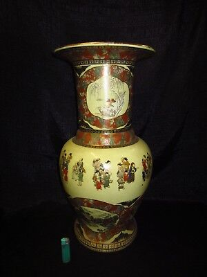 Gr.Porzellanvase, China/Japan, 24KT Goldmalerei, 6 Samuraikampfszenen, Paradies