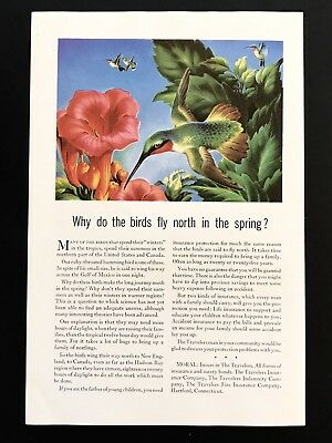 Historical Memorabilia Collectibles 1944 Vintage Print Ad Travelers Insurance Illustration Art Flower Hummingbird