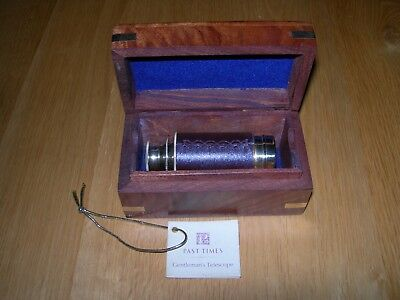 Past Times Brass Telescope In Brass Inlaid Rosewood Box - Unused