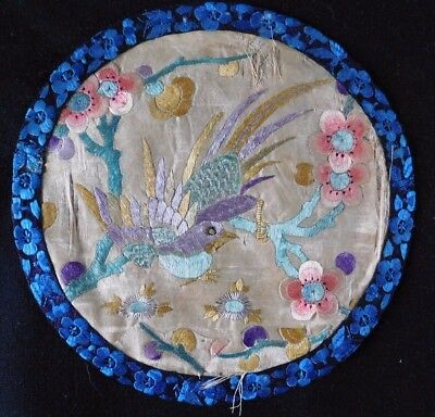 Antique Finely Embroidered Chinese Silk Edged Mat / Panel, Bird Motif