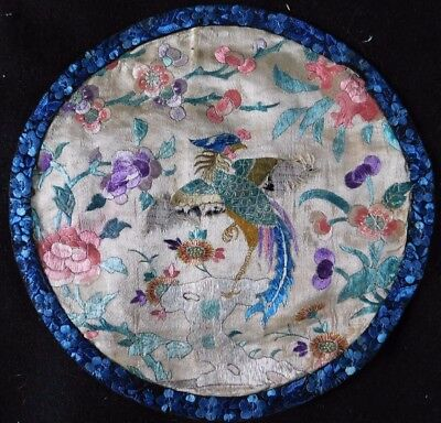 Antique Finely Embroidered Chinese Silk Edged Mat / Panel, Phoenix / Flowers