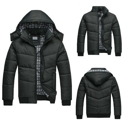 Men's Black Puffer Jacket Warm Overcoat Outwear Padded Hooded Down Winter Coat