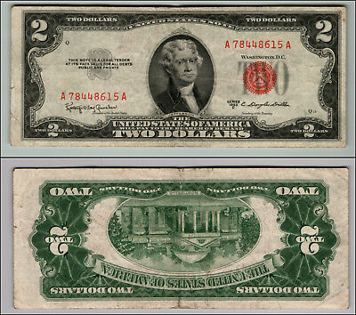 1953C $2 Dollar Bill Old Us Note Legal Tender Paper Money Currency Red Seal Z925
