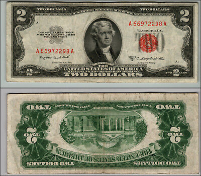 1953B $2 Dollar Bill Old Us Note Legal Tender Paper Money Currency Red Seal P692