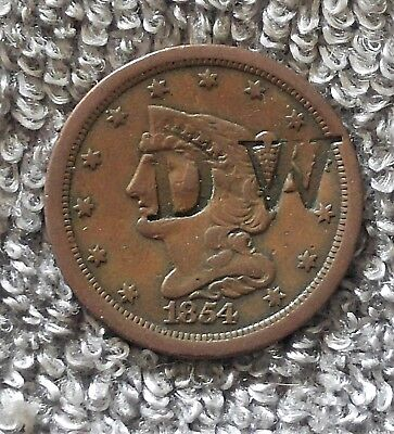 1854 1/2C BN Braided Hair Half Cent Counter Stamped
