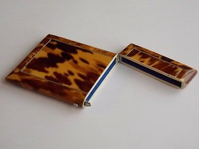 Nice Antique Victorian Blonde Faux Tortoiseshell Card Case With Silver Stringing