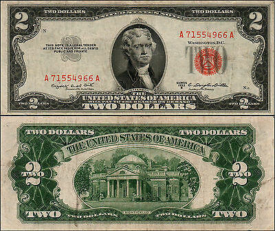 1953B $2 Dollar Bill Old Us Note Legal Tender Paper Money Currency Red Seal Y683