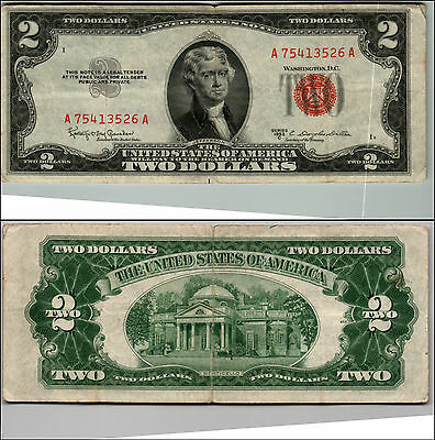 1953C $2 Dollar Bill Old Us Note Legal Tender Paper Money Currency Red Seal Q497