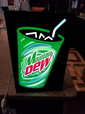 NEW Vintage Mountain DEW Hanging Light Up Sign Pepsi Co Soda Pop Network Display